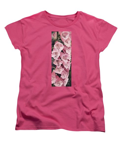 Women's T-Shirt (Standard Cut) featuring the painting Pink Foxglove by Laurie Rohner