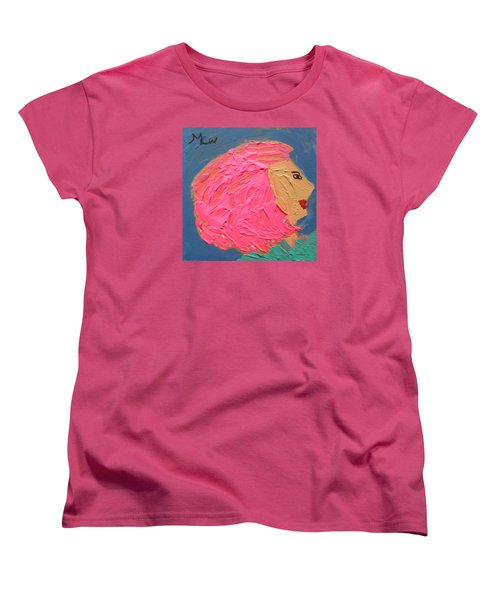 Women's T-Shirt (Standard Cut) featuring the painting Pink  Hair by Mary Carol Williams