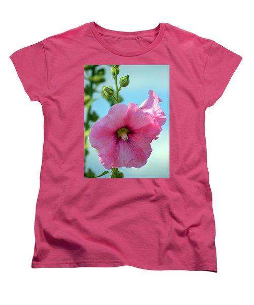 Pink Holyhock. Women's T-Shirt (Standard Cut) by Terence Davis