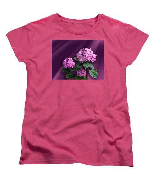 Pink Hydrangea Women's T-Shirt (Standard Cut) by Judy Johnson