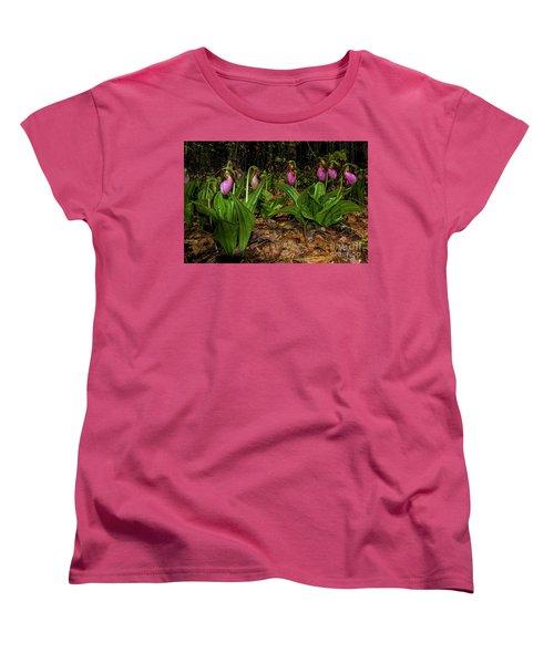 Pink Ladies Slipper Patch Women's T-Shirt (Standard Cut)