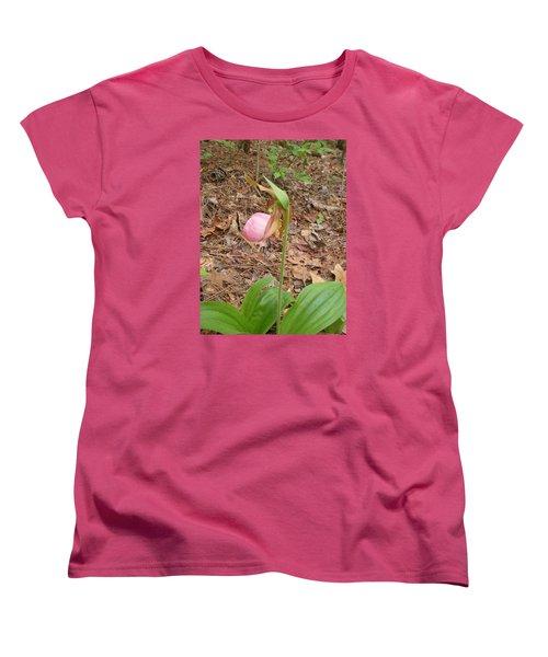 Women's T-Shirt (Standard Cut) featuring the photograph Pink Lady's-slipper by Linda Geiger
