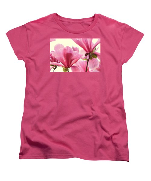 Women's T-Shirt (Standard Cut) featuring the photograph Pink Magnolias by Peggy Collins