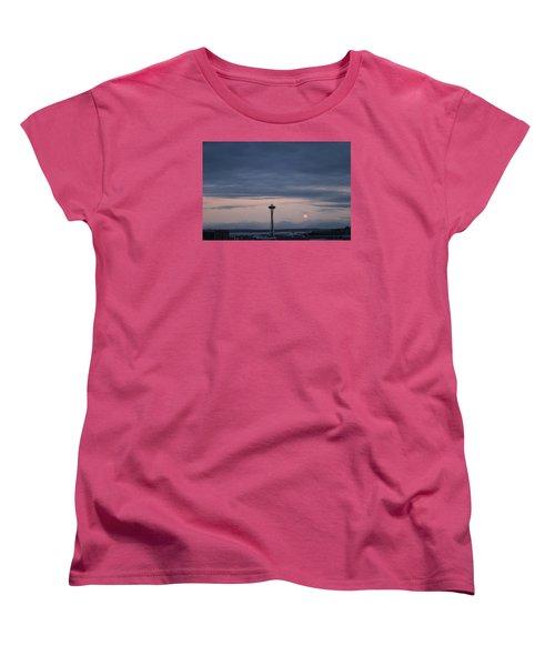 Pink Moon Setting Women's T-Shirt (Standard Cut) by Suzanne Lorenz