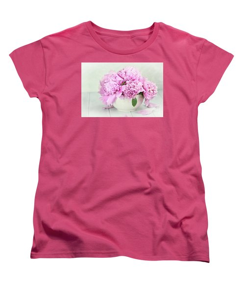 Pink Peonies Women's T-Shirt (Standard Cut) by Stephanie Frey