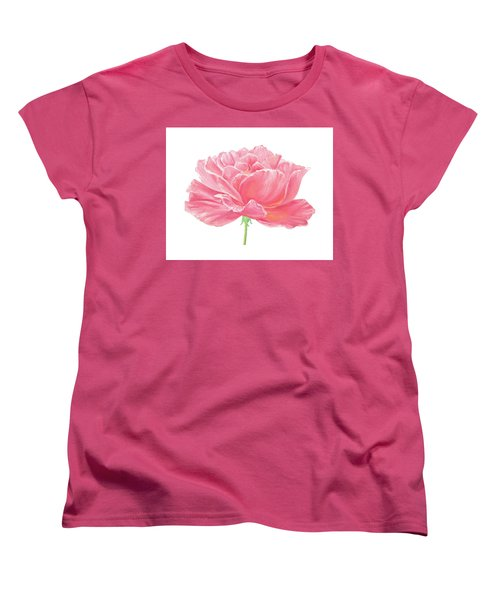 Women's T-Shirt (Standard Cut) featuring the painting Pink Rose by Elizabeth Lock