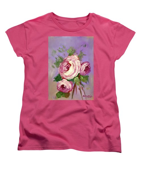 Pink Rose Women's T-Shirt (Standard Cut) by Janet Garcia