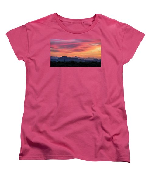 Women's T-Shirt (Standard Cut) featuring the photograph Pink Silhouette Sunset  by Saija Lehtonen