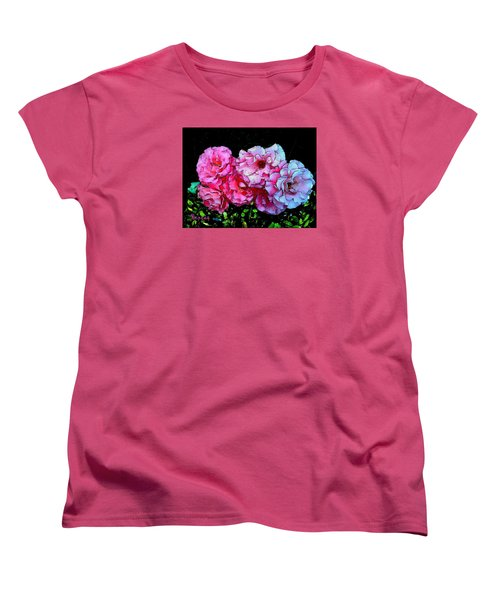 Women's T-Shirt (Standard Cut) featuring the photograph Pink - White Roses  by Sadie Reneau