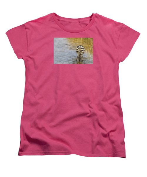 Women's T-Shirt (Standard Cut) featuring the tapestry - textile Plains Zebra by Kathy Adams Clark
