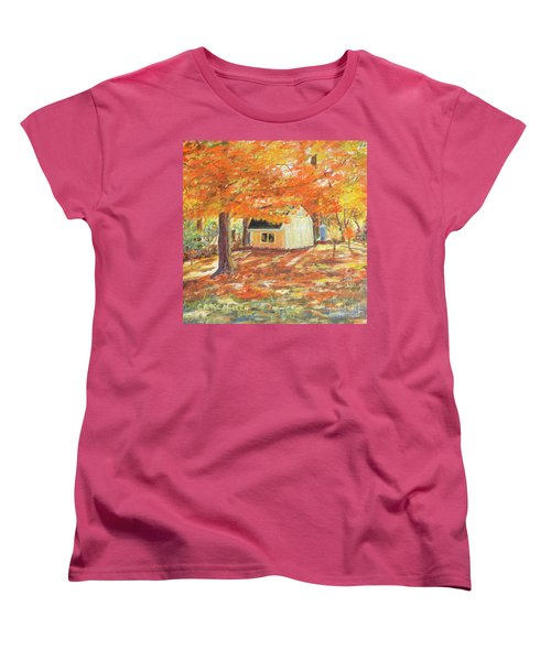 Playhouse In Autumn Women's T-Shirt (Standard Cut) by Carol L Miller