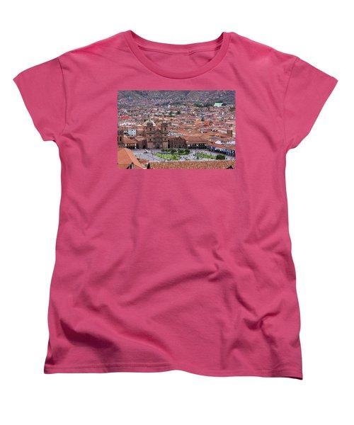 Women's T-Shirt (Standard Cut) featuring the photograph Plaza De Armas, Cusco, Peru by Aidan Moran