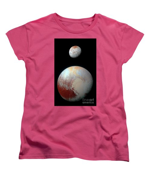 Women's T-Shirt (Standard Cut) featuring the photograph Pluto And Charon by Nicholas Burningham