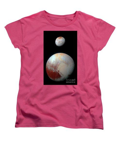 Pluto And Charon Women's T-Shirt (Standard Cut) by Nicholas Burningham
