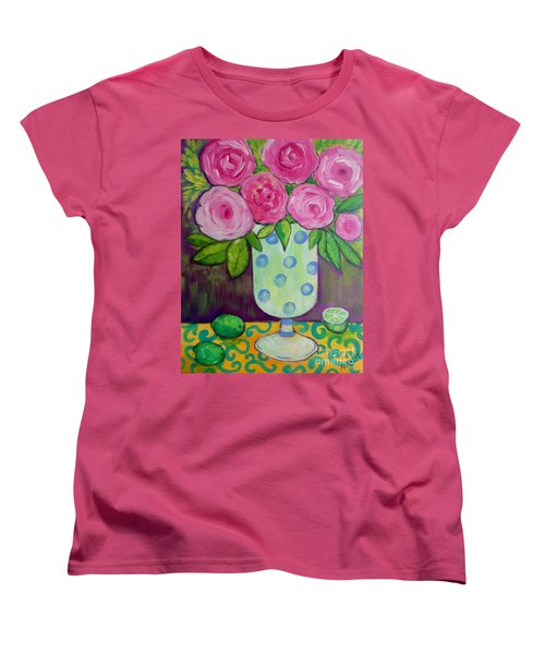 Women's T-Shirt (Standard Cut) featuring the painting Polka-dot Vase by Rosemary Aubut