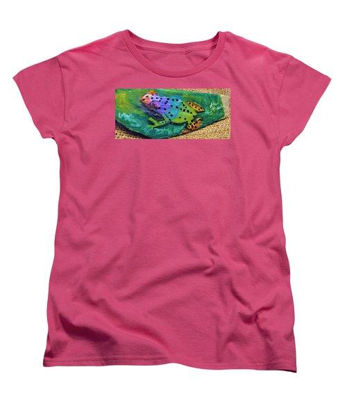Polka-dotted Rainbow Frog Women's T-Shirt (Standard Cut) by Ann Michelle Swadener