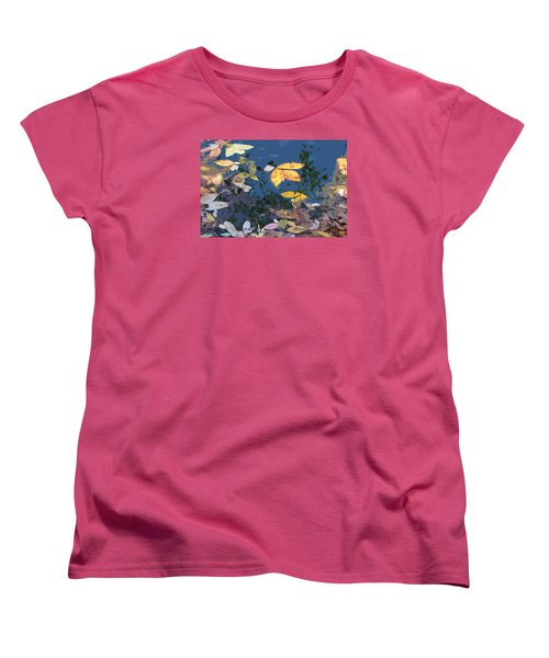 Women's T-Shirt (Standard Cut) featuring the photograph Autumn Leaves On The Pond by Spyder Webb