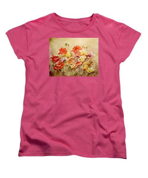 Women's T-Shirt (Standard Cut) featuring the painting Poppies by Marilyn Zalatan