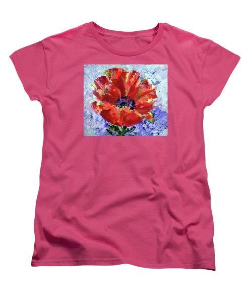Poppy In Fields Of Lavender Women's T-Shirt (Standard Cut) by Lynda Cookson