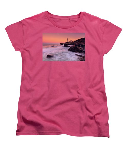 Women's T-Shirt (Standard Cut) featuring the photograph Portland Head Light In Pink  by Emmanuel Panagiotakis