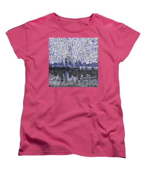 Women's T-Shirt (Standard Cut) featuring the digital art Portland Skyline Abstract Nb by Bekim Art