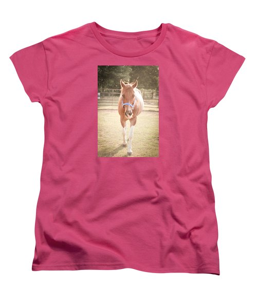 Women's T-Shirt (Standard Cut) featuring the photograph Portrait Of A Light Brown Horse In A Pasture by Kelly Hazel
