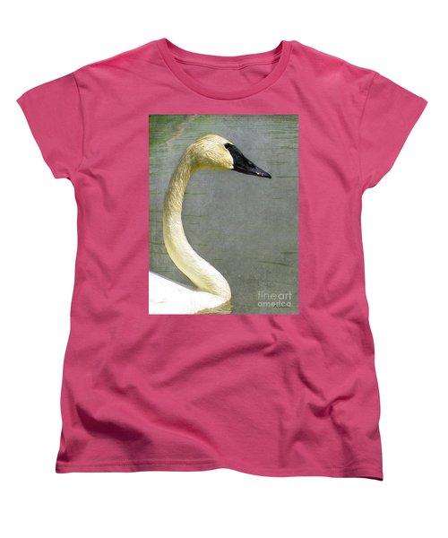 Portrait Of A Pond Swan Women's T-Shirt (Standard Cut) by Nina Silver