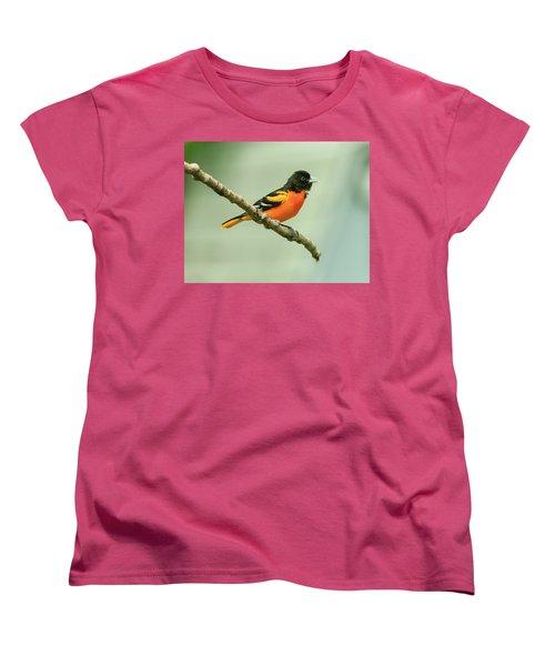 Portrait Of A Singing Baltimore Oriole Women's T-Shirt (Standard Cut) by Joni Eskridge