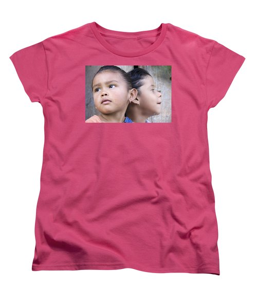 Women's T-Shirt (Standard Cut) featuring the photograph Portrait Of Two Panama Girls by Heiko Koehrer-Wagner