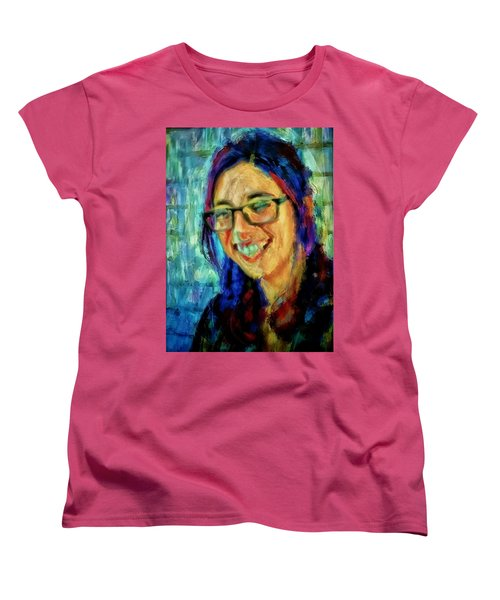 Women's T-Shirt (Standard Cut) featuring the painting Portrait Painting In Acrylic Paint Of A Young Fresh Girl With Colorful Hair In A Library With Books  by MendyZ
