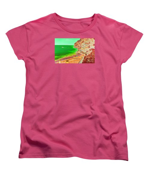 Women's T-Shirt (Standard Cut) featuring the painting Positano Bay by Loredana Messina