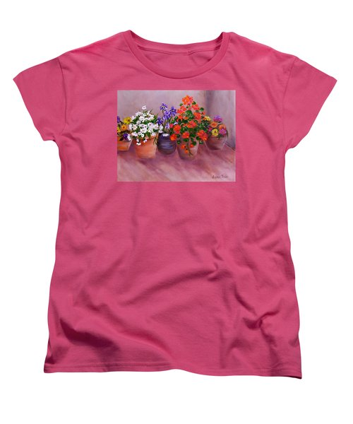Women's T-Shirt (Standard Cut) featuring the painting Pots Of Flowers by Jamie Frier
