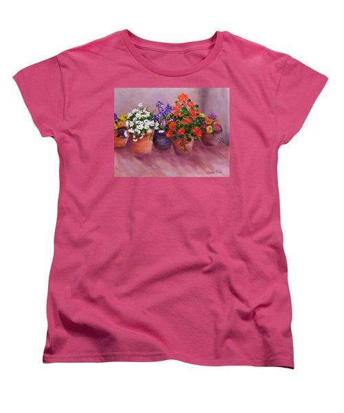 Pots Of Flowers Women's T-Shirt (Standard Cut) by Jamie Frier