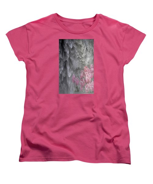 Women's T-Shirt (Standard Cut) featuring the photograph Powerful And Gentle Waterfall Art  by Valerie Garner