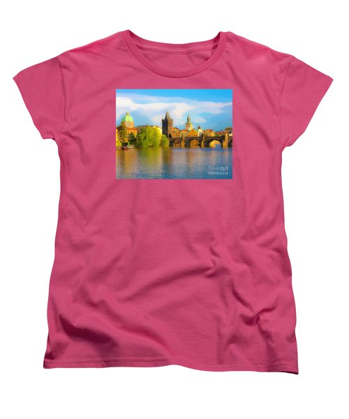 Women's T-Shirt (Standard Cut) featuring the photograph Praha - Prague - Illusions by Tom Cameron