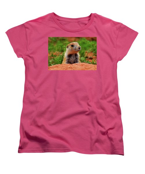 Women's T-Shirt (Standard Cut) featuring the photograph Prairie Dogs 007 by George Bostian