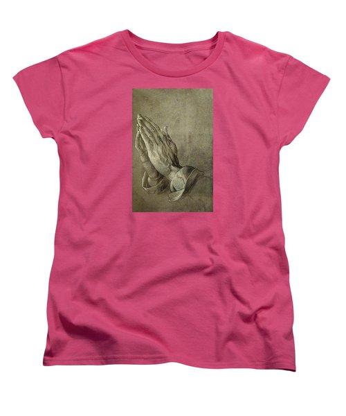 Praying Hands Women's T-Shirt (Standard Cut) by Troy Caperton
