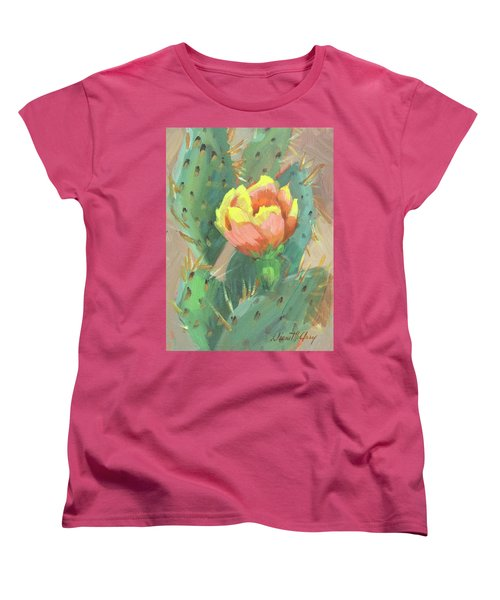Women's T-Shirt (Standard Cut) featuring the painting Prickly Pear Cactus Bloom by Diane McClary