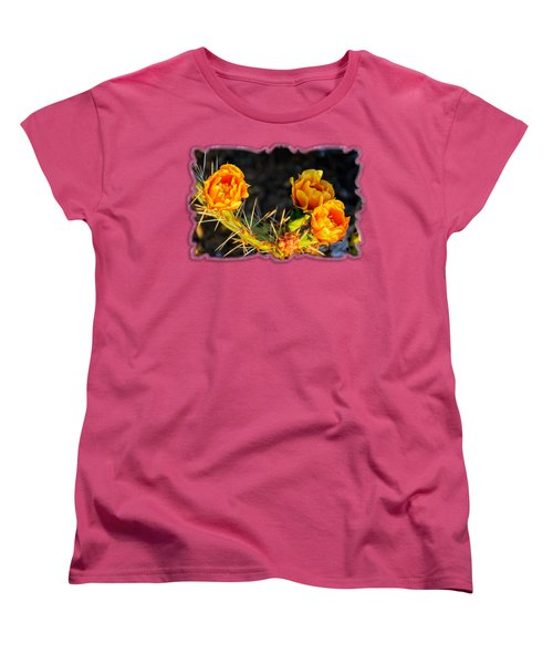 Prickly Pear Flowers Op49 Women's T-Shirt (Standard Cut) by Mark Myhaver