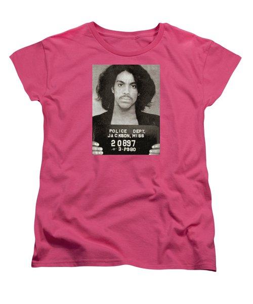 Prince Mug Shot Vertical Women's T-Shirt (Standard Cut) by Tony Rubino