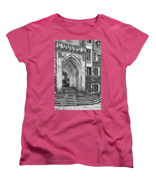 Women's T-Shirt (Standard Cut) featuring the photograph Princeton University Lockhart Hall Dorms Bw by Susan Candelario