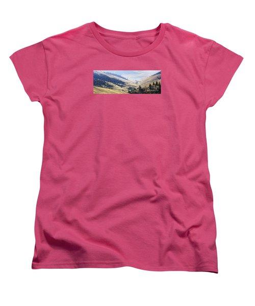 Pristine Panorama- National Bison Range, Montana Women's T-Shirt (Standard Cut) by Janie Johnson