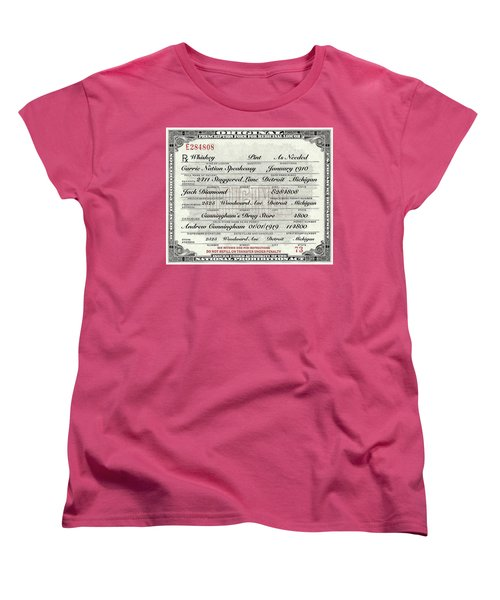 Women's T-Shirt (Standard Cut) featuring the photograph Prohibition Prescription Certificate Carrie Nation Speakeasy by David Patterson