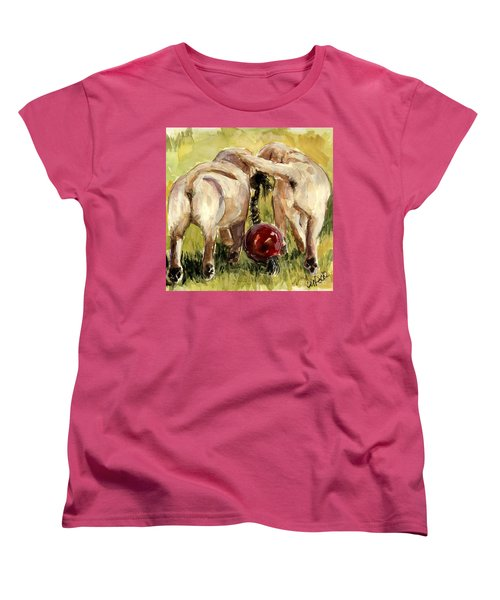 Women's T-Shirt (Standard Cut) featuring the painting Puppy Butts by Molly Poole