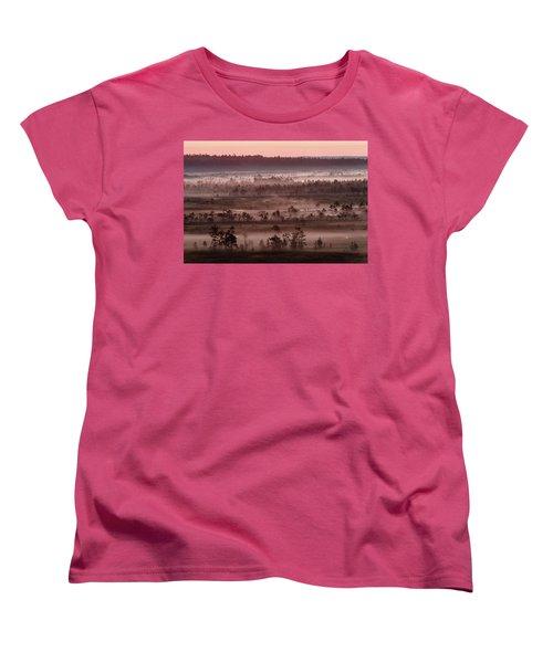Purple Fog On Swamp Women's T-Shirt (Standard Cut) by Teemu Tretjakov