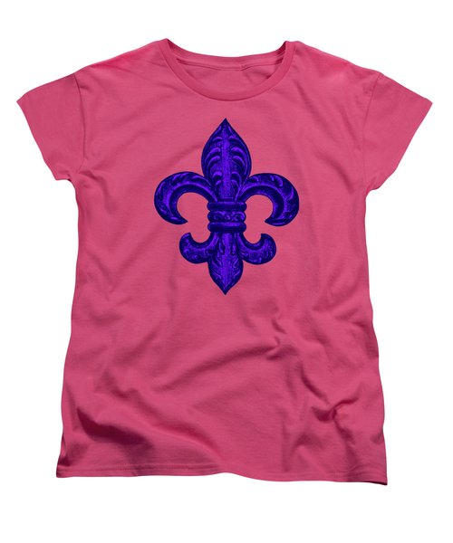 Purple French Fleur De Lys, Floral Swirls Women's T-Shirt (Standard Cut) by Tina Lavoie
