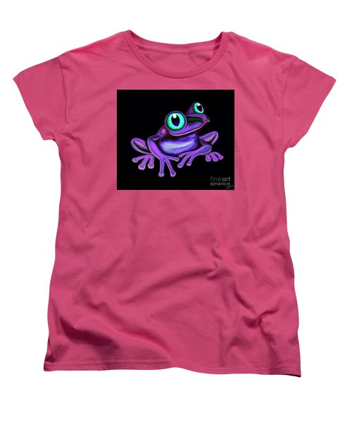 Women's T-Shirt (Standard Cut) featuring the painting Purple Frog  by Nick Gustafson