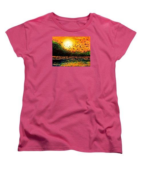Purple Martin Migration Women's T-Shirt (Standard Cut) by Patricia L Davidson