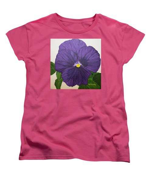 Women's T-Shirt (Standard Cut) featuring the painting Purple Pansy by Wendy Shoults