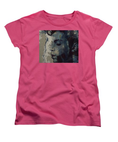 Women's T-Shirt (Standard Cut) featuring the mixed media Purple Rain - Prince by Paul Lovering